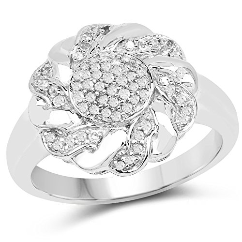 (0.25 Carats Genuine White Diamond (I-J, I2-I3) Floral Ring Solid .925 Sterling Silver With 18KT White Gold Plating)