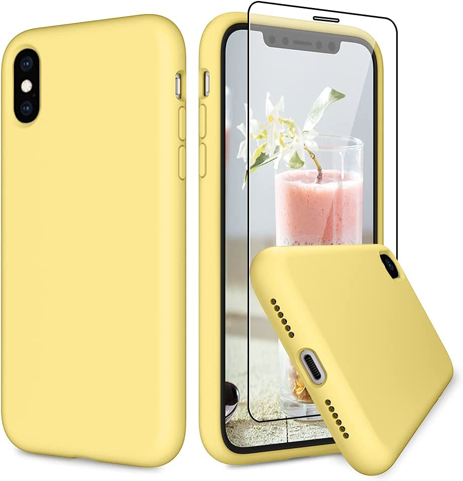 VEGO Compatible for iPhone X Xs Rubber Case, Slim Silicone Case with Tempered Glass Screen Protector, Anti Scratch Bumper Microfiber Lining Shockproof Cover for iPhone X/XS 5.8 inch - Yellow