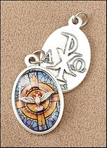 Silver Tone Epoxy Holy Dove with Chi Rho Cross 1-inch Pendant