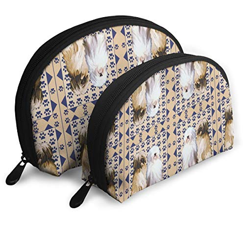 Leakerler Tibetan Terrier with Paw Prints Cosmetic Bag,Personalized Makeup Shell Bag, Can Be Used As A Makeup Brush Bag,Have Two Bag