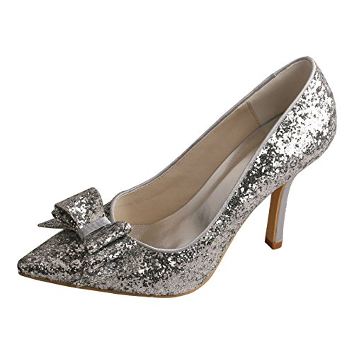 Bridal Pointed Toe Prom Shoes MW449 Stiletto Wedding Glitter Wedopus Silver Bow RE6g0w55q