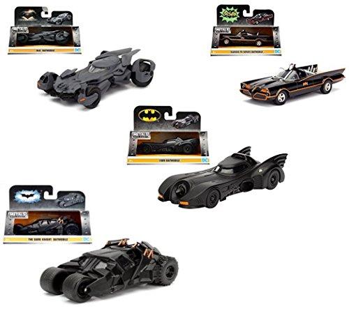 Collect them ALL!! Set of 4 Batmobiles Jada Metal 1:32 Scale -1966 Classic TV Series Batmobile -Batman 1989 Batmobile -- The Dark Knight Batmobile -2016 Batman V Superman Batmobile Die-Cast (Dark Knight Batmobile)
