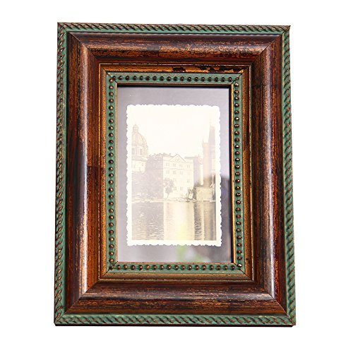 Rustic Picture Frame 5x7 Brown Fulemay Handmade Carved Wood Photo Frame for Tabletop and Wall Decor - Carved Wood Frame