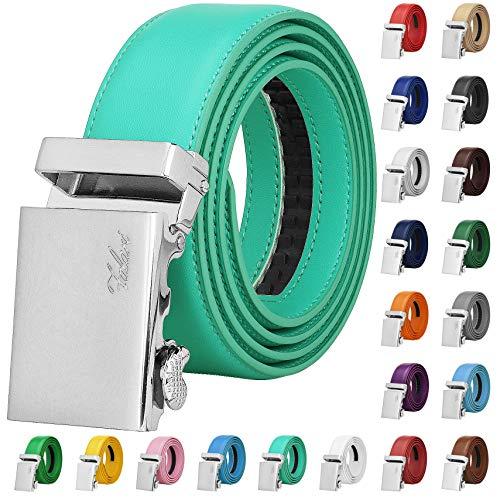 Falari Men Unisex Genuine Leather Ratchet Dress Belt Automatic Sliding Buckle - 20 Variety Colors - Trim to Fit (8170 - Tiffany Green, XL - Fit from waist 28 to 42