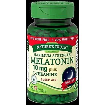 Natures Truth Maximum Strength Melatonin 10 mg Plus L-Theanine Capsules, 72 Count