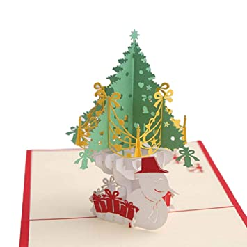 Christmas Greeting Card Handmade 3d Pop Up Winter Holiday Greeting
