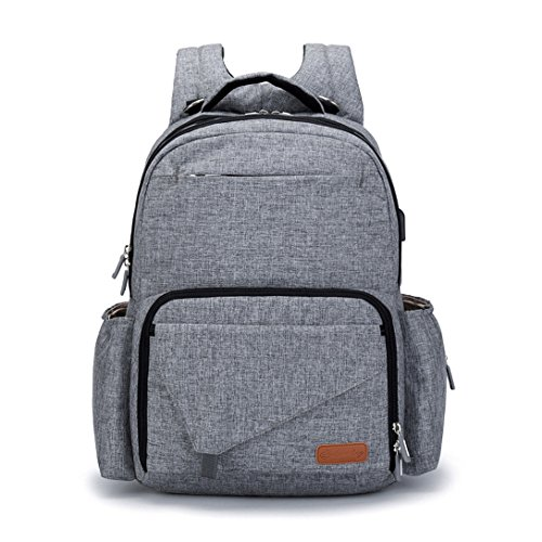 KUNGKEN Diaper Bag Insulated Mummy Dad Maternity Travel Backpack Nappy Bag Organizer Multifunctional Baby Stroller Bags with Stroller Hook and USB Port Grey