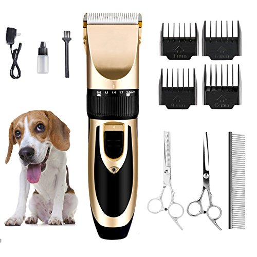 DIGDAN Pet Hair Clippers, Professional Pet Grooming Kit with Ceramic Blades and 4 Guide Combs, Rechargeable Electric Pet Clipper for Dogs Cats and Other Animals