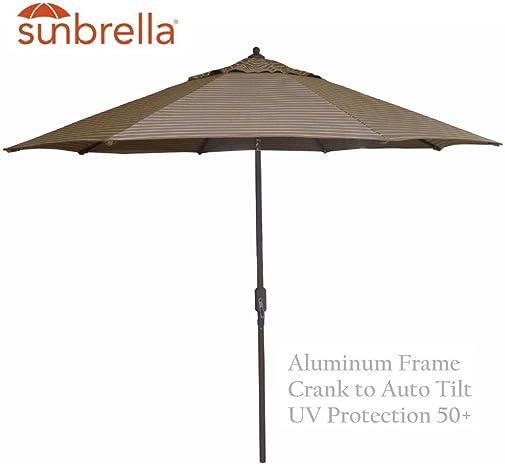 9 Sunbrella Auto Tilt Patio Market Umbrella – Cocoa Hardwood