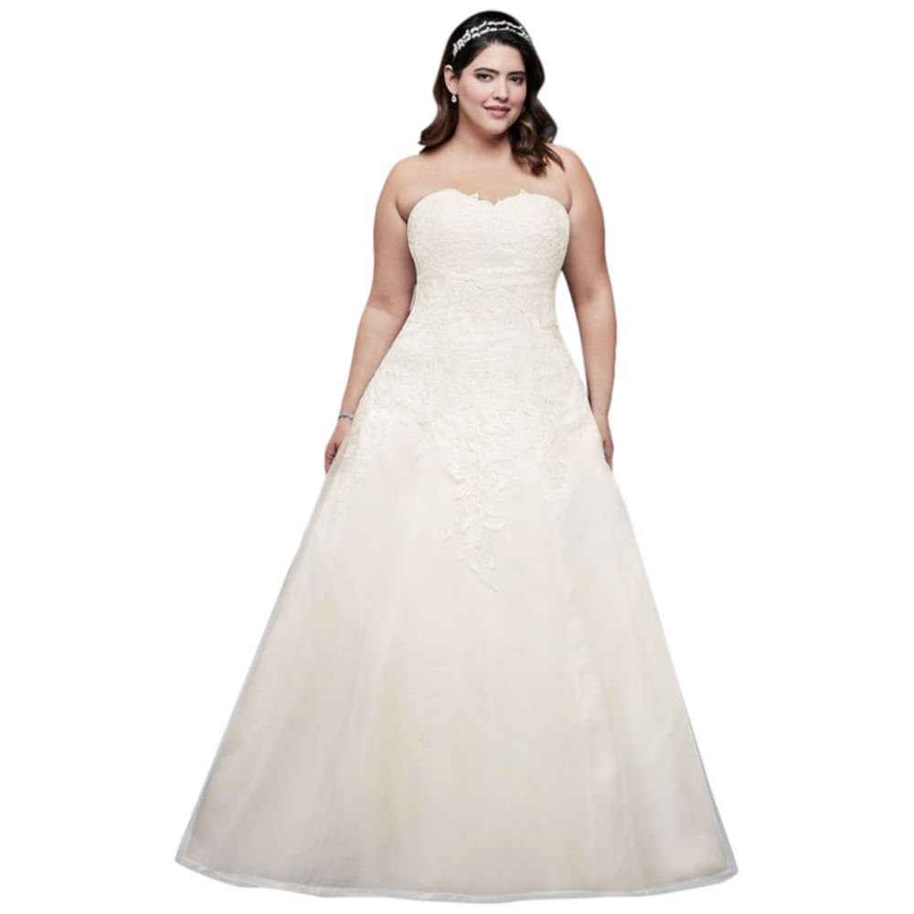 Soft Tulle Plus Size Wedding Dress With Leaf Lace Style 9op1338 At