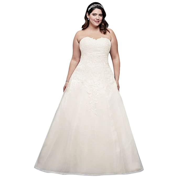 Soft Tulle Plus Size Wedding Dress with Leaf Lace Style ...