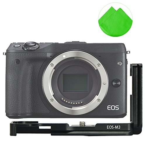 with a cleaning cloth LLX-EOSM3-01 First2savvv Quick Release L Plate Bracket Holder Hand Grip for Canon EOS M3 Camera Benro Arca Swiss Tripod Head