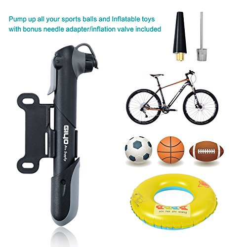 YOUYOUTE 120 PSI Mini Bike Pump Portable, Fits Schrader & Presta Bike Pump, Bike Tire Pump, Multi Function Bike Repair Tools,Glueless Puncture Repair Kit,Ball Needle and inflation valve