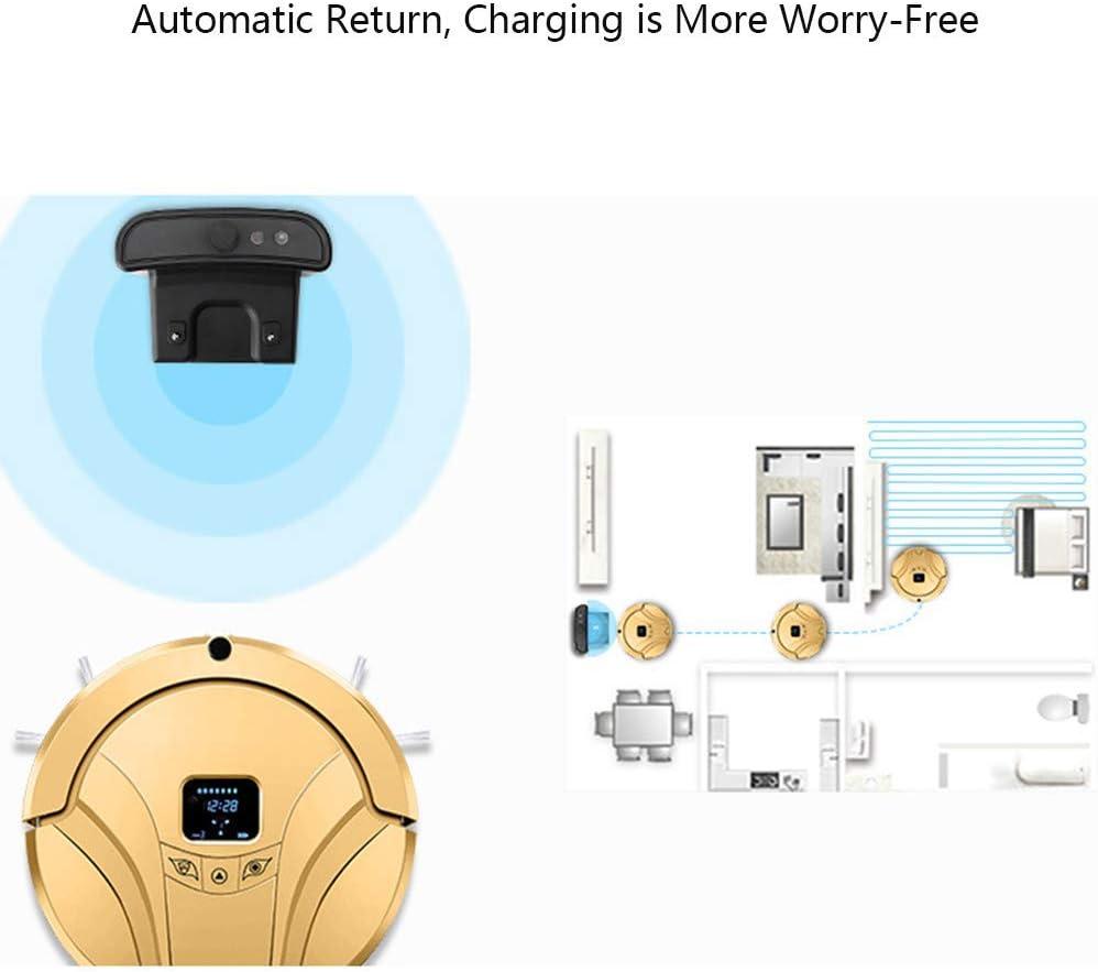 MXZBH Aspirateur Robot avec télécommande et capteur Infrarouge APP Réinstallation Automatique Anti-Chute et Collision Gold