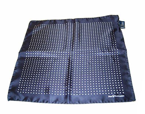 Polo-Ralph-Lauren-Men-Silk-Satin-Pocket-Square-Italy-Polka-Dot-Navy-Blue-White