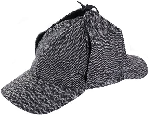 One Size Funny Party Hats Sherlock Holmes Detective Cap Hat Black and White