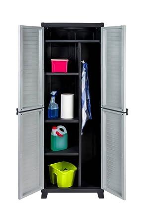 Kunststoff Spindschrank Besenschrank Mit Freifach Für Sperrige Gegenstände Und Abschließbaren Türen Maße Bxtxh In Cm 65 X 45 X 181 Cm