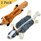 LOOBANI Squeaky Dog Chew Toys, Dog Toy Plush Stuffed Animal and Durable Rope Chewer for Small Medium Pet (Pack of 2)
