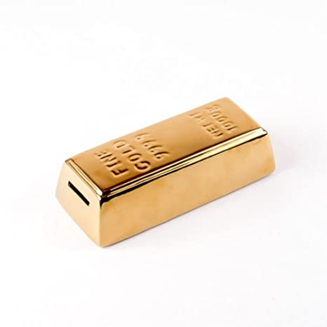 Gold Bar Coin Money Bank Ceramic Gift Boxed 7 Inches