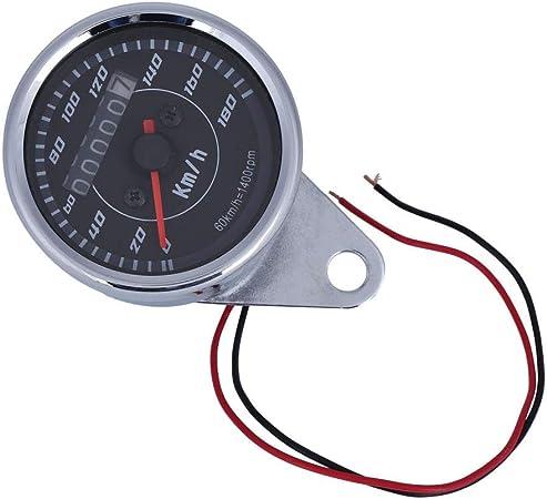 Keenso Universal Motorrad Kilometerzähler Tachometer Doppelt Farben Led Licht Entfernungsmesser Geschwindigkeitsmesser Km H Auto