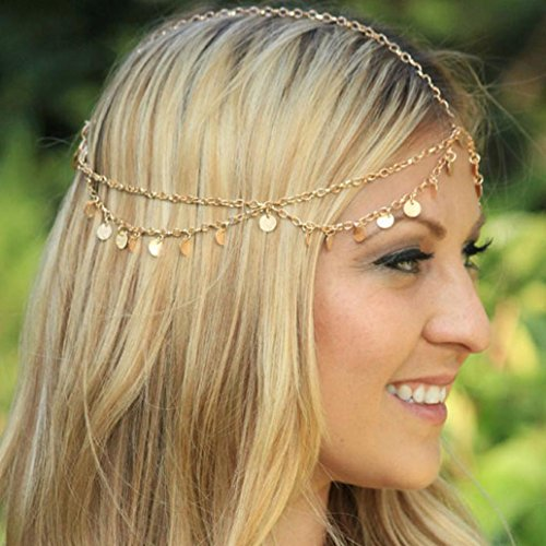 Datework Tassels Chain Jewelry Headband (Gold) ()