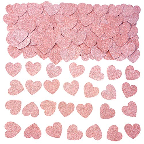 Rose Gold Wedding Party Love Heart Table Confetti - Valentines Party Table Scatter Confetti Bridal Shower Engagement Bachelorette Party Favors Confetti Decorations, 200pc