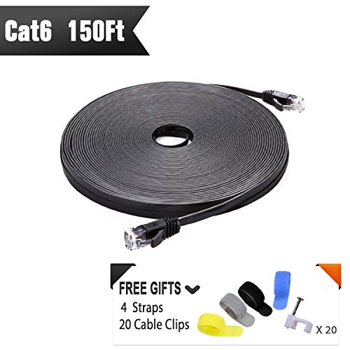 Cat 6 Ethernet Cable Black 150 ft (at a Cat5e Price but Higher Bandwidth) Flat Internet Network Cable - Cat6 Ethernet Patch Cable Short - Computer LAN Cable with Snagless RJ45 Connectors