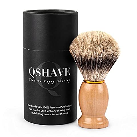 QSHAVE 100% Best Original Pure Badger Hair Shaving Brush Handmade. Real Wood Base. Perfect for Wet Shave, Safety Razor, Double Edge - Best Shave