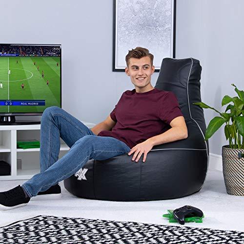 i-eX Puf para Videojuegos, Negro, 91cm x 88cm, Grande, Cuero sintetico, Reclinable ergonomico para Videojuegos, Silla para Videojuegos