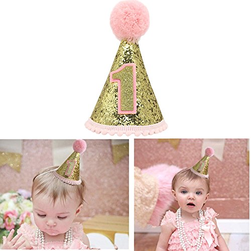 Gold Glitter Sparkle Princess 1st Birthday Cone Hat with Adjustable Headband for Baby Girl Party -