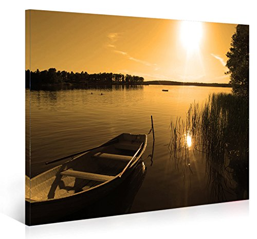 Peafaul Wall Art Print Poster Wall Art: Nuolanart-P1L4060-002-Sunset Over Peace Lake-Framed Canvas
