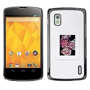 Gris Gris Begonia Poster Flor de Primavera- Metal de aluminio y de plástico duro Caja del teléfono - Negro - LG Nexus 4 E960