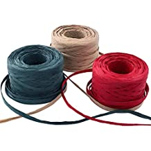 "EOOUT 327Yd Raffia Paper Ribbon - 3 Rolls Red Green Kraft 1/4"" Raffia Ribbon Packing Paper Twine, 109Yd Each Roll for Christmas Gift Wrap"