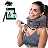 Cervical Neck Traction Device Brace - Provides Spine Alignment Support for Chronic Neck & Shoulder Pain Relief - Inflatable Stretcher Collar for Home Therapy - Improves Neck Posture - Faster Air Fill