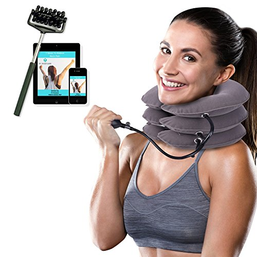 Cervical Neck Traction Device Brace - Provides Spine Alignment Support for Chronic Neck & Shoulder Pain Relief - Inflatable Stretcher Collar for Home Therapy - Improves Neck Posture - Faster (New Cervical Neck Traction)