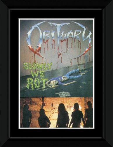 Obituary - Slowly We Rot Framed and Mounted Print - 14.7x10.2cm