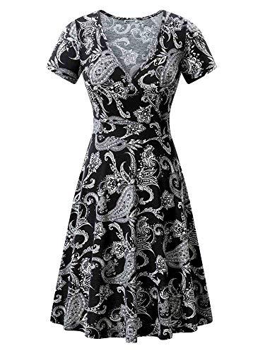 MSBASIC Juniors Dress Misses Summer A-line Dresses for Women Cashew Flowers Black XL