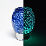 Jean Claude Novaro Hand Blown One of a Kind Glass Glow in the Dark Vase Sculpture Signed COA
