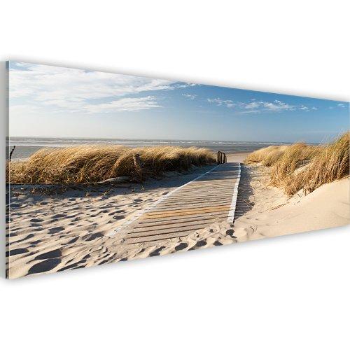 Bilder 135x45cm ! Echtes XXL Panoramabild -Vlies Leinwand - Fertig Aufgespannt - Top - Wandbilder - Wand Bild - Kunstdrucke - Wandbild - Landschaft Strand 030212-83 135x45 cm B&D XXL