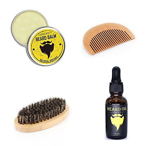 OALEN 4 in 1 Mustache Balm Oil Brush Comb Kit Beard Grooming Kit Beard Conditioner Oil Wax Brush For Beard Styling and - Comb 4in 1 Grooming