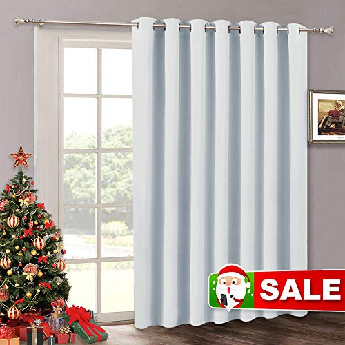 RYB HOME Room Darkening Bedroom Curtains - Vertical Blinds for Sliding Glass Door, Thermal Insulated Curtain Panel for Patio Door Dining Window Closet, 100 W x 84 L, Grayish White (Sliding Doors White Closet)