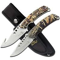 Elk Ridge ER-054CA - Juego de cuchillos de caza al aire última intervensión, 2 piezas de hoja fija y cuchillo plegable, cuchillas de acero inoxidable con acabado satinado, asas revestidas de camuflaje, incluye funda de nailon combinada, caza, camping, supervivencia