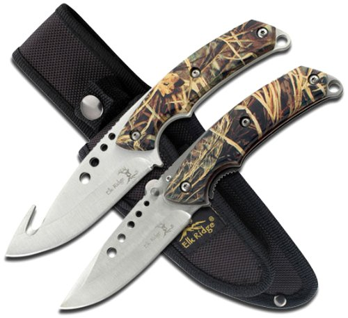 Elk Ridge ER-054CA 8.5-Inch Fixed and 5-Inch Folder Hunting Knife Set