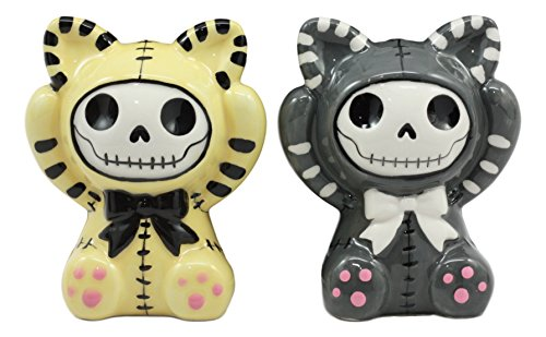 Ebros Furrybones Mao Mao Striped Kittens Voodoo Skeleton Ceramic Salt And Pepper Shakers Set Furry Bones Grey And Yellow Cats Collectible Figurines Kitchen & Dining Centerpiece