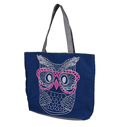 Fashion Owl Canvas Vintage Handbag Messenger Shopping Satchel Women Shoulder Casual Robemon Bag Blue Crossbody xqAvvw4Y6
