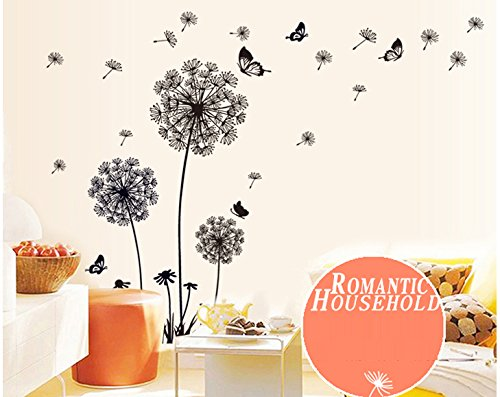 ufengke® Black Dandelions and Butterflies Flying In The Wind Wall ...