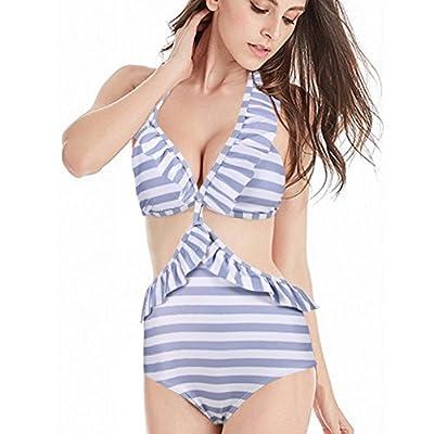 High Waisted Swimsuits for Women Ruffle Polka Dot Push up Halter Strap Bikini Sets