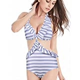 High Waisted Swimsuits for Women Ruffle Polka Dot Push Up Halter Strap Bikini Sets (Blue, L)