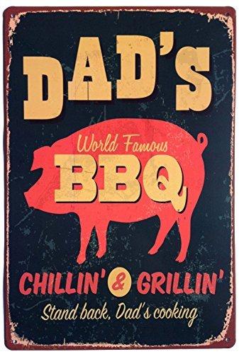 ERLOOD Dad's función atril barbacoa el padre de la vendimia de cocción rótulo de hojalata decoración de pared 20 cm x 30...