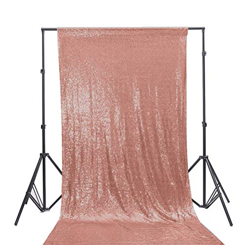 TRLYC 4Ft7Ft Blush Ceremony Background Sequin Backdrop for Wedding Fabric]()